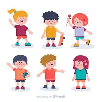 Conjunto de pessoas diferentes dos desenhos animados