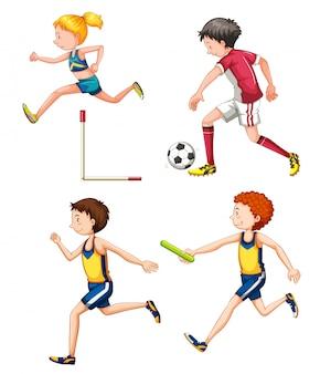 Conjunto de pessoas diferentes esportivas