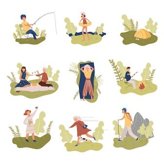 Conjunto de pessoas diferentes que descansam nas férias em lugares da natureza