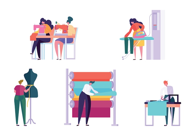 Conjunto de pessoas do personagem de costura mestre roupas. mulher trabalho costureira máquina de tricô engomar tecido ateliê criativo alfaiate têxtil artesanato negócios coleção isolada flat vector cartoon illustration