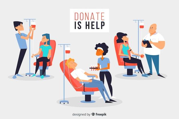 Conjunto de pessoas doando sangue