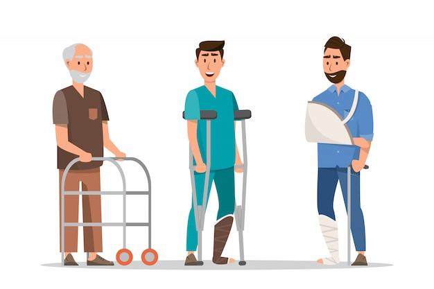 Conjunto de pessoas doentes que se sentem mal, braço quebrado e perna quebrada