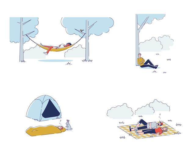 Conjunto de pessoas dormindo ao ar livre homens e mulheres relaxando durante um piquenique no parque ou uma caminhada em uma viagem