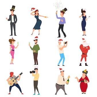 Conjunto de pessoas dos desenhos animados, dançando celebrando as pessoas se divertindo na festa de ano novo.