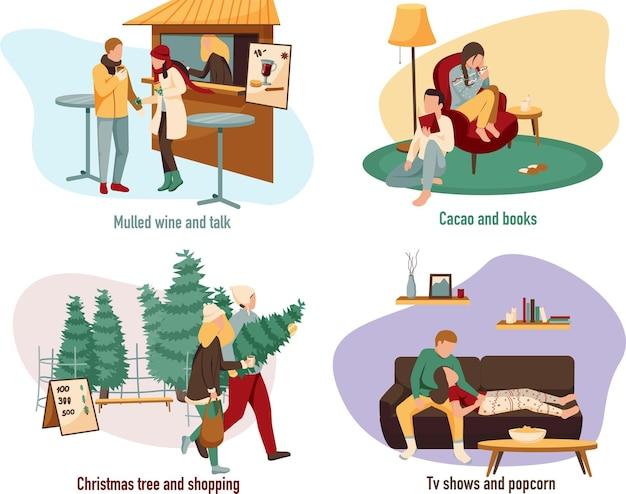 Conjunto de pessoas durante a véspera de natal e o inverno fazendo atividades