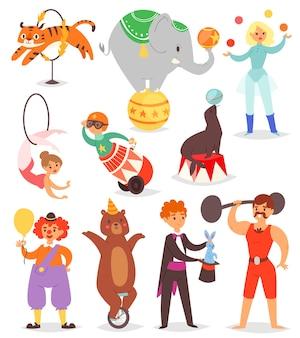 Conjunto de pessoas e animais de circo