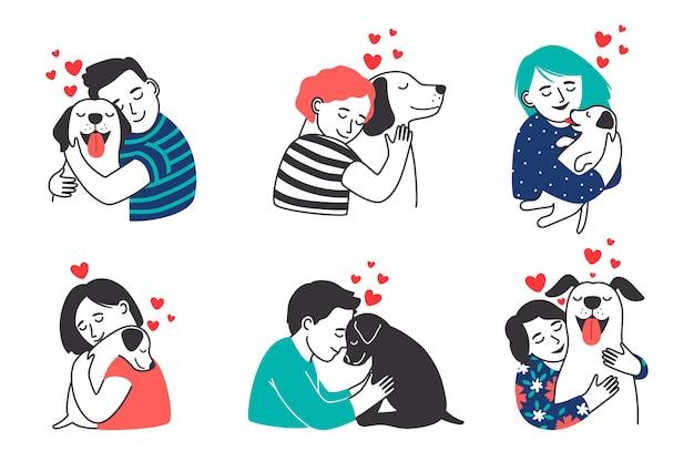 Conjunto de pessoas e animais de estimação.
