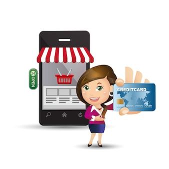Conjunto de pessoas - e-shopping - mulheres de negócios. compras online