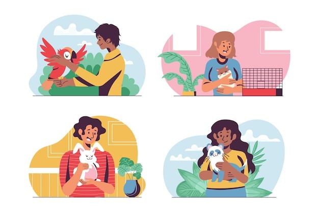 Conjunto de pessoas em apartamento com animais de estimação