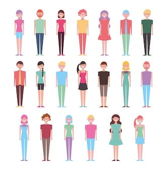Conjunto de pessoas em pé