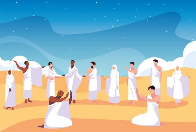 Conjunto de pessoas em peregrinação do hajj