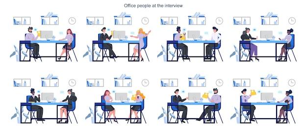 Conjunto de pessoas em uma entrevista de emprego. ideia de empresa de negócios e conversa com o funcionário. candidato a um emprego. emprego e recrutamento.