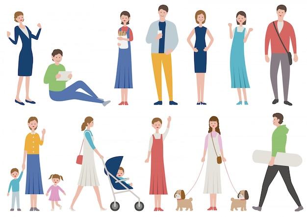 Conjunto de pessoas em vários estilos de vida isolado. ilustração em vetor plana.
