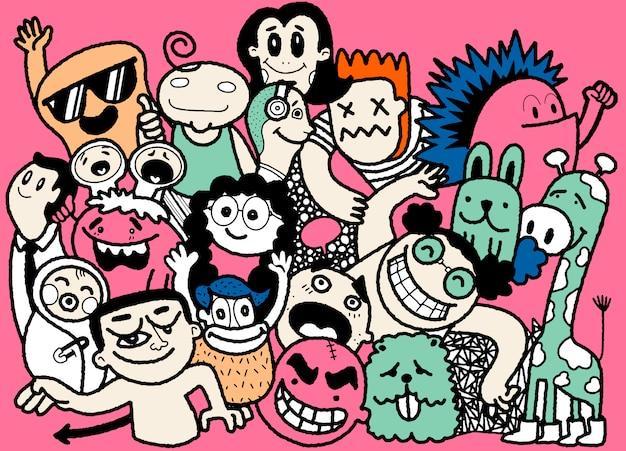 Conjunto de pessoas engraçadas doodle. ilustração de mão desenhada.