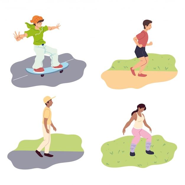 Conjunto de pessoas fazendo atividades ao ar livre