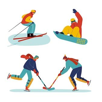 Conjunto de pessoas fazendo atividades de inverno