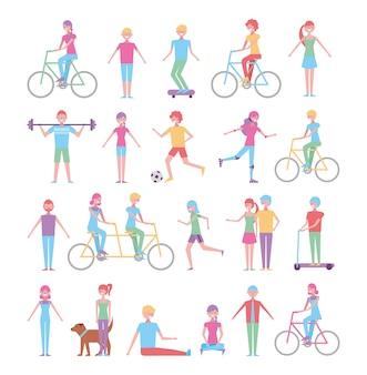 Conjunto de pessoas fazendo atividades recreativas