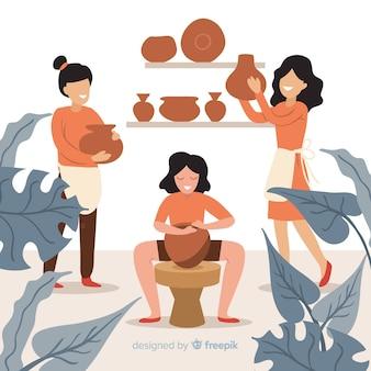 Conjunto de pessoas fazendo cerâmica
