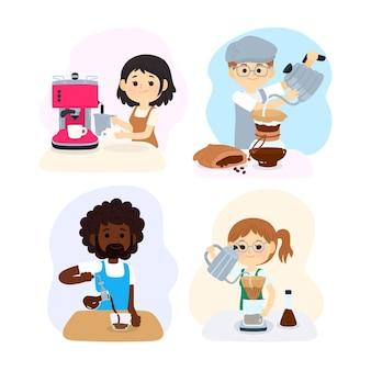 Conjunto de pessoas fazendo diferentes métodos de café