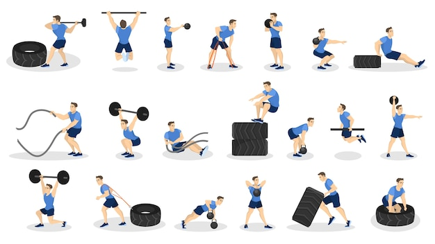 Conjunto de pessoas fazendo exercícios. exercícios de fitness e musculação