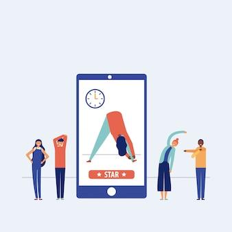 Conjunto de pessoas fazendo pausas ativas ou exercício, roupa casual, ilustração de smartphone