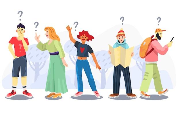 Conjunto de pessoas fazendo perguntas