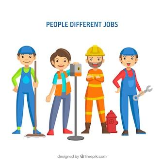 Conjunto de pessoas felizes com diferentes trabalhos em estilo simples
