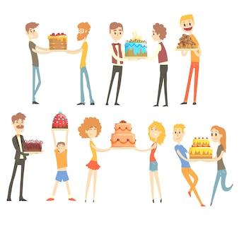 Conjunto de pessoas felizes e amorosas, comemorando o aniversário com um colorido de bolo festivo personagens ilustrações