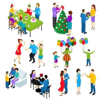 Conjunto de pessoas festivas isométricas