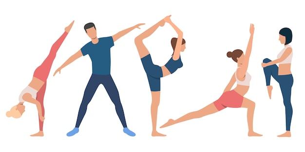 Conjunto de pessoas flexíveis em várias posições