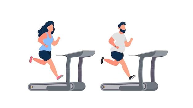 Conjunto de pessoas gordas em execução em uma esteira. homem e mulher gordos correm no simulador. o conceito de perder peso e um estilo de vida saudável. isolado. vetor