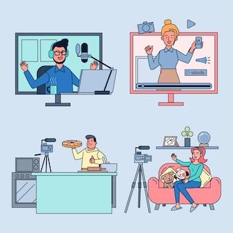 Conjunto de pessoas gravando vídeos para redes sociais