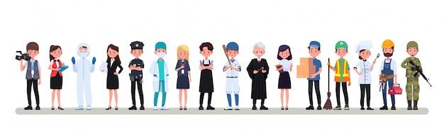 Conjunto de pessoas grupo de profissões diferentes ocupações, dia internacional do trabalho faixa plana