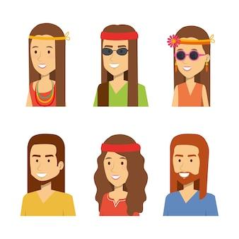 Conjunto de pessoas hippie a sorrir