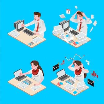 Conjunto de pessoas homem e mulheres trabalhando no escritório com ilustração isométrica de rosto feliz e estresse