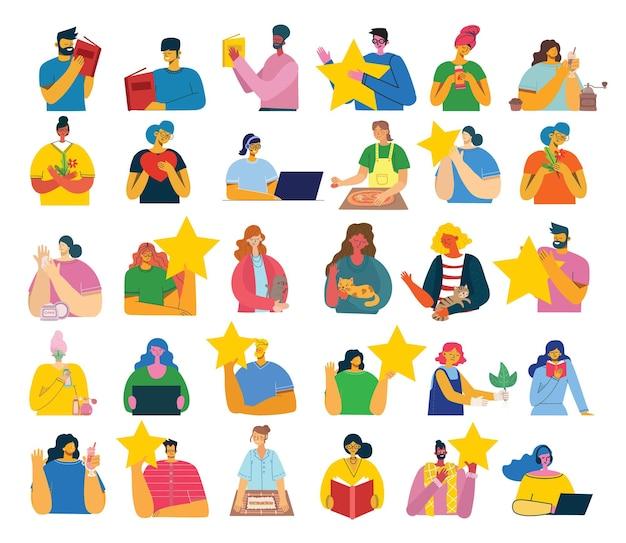 Conjunto de pessoas, homens e mulheres com coisas diferentes. estilo simples e moderno e colorido.