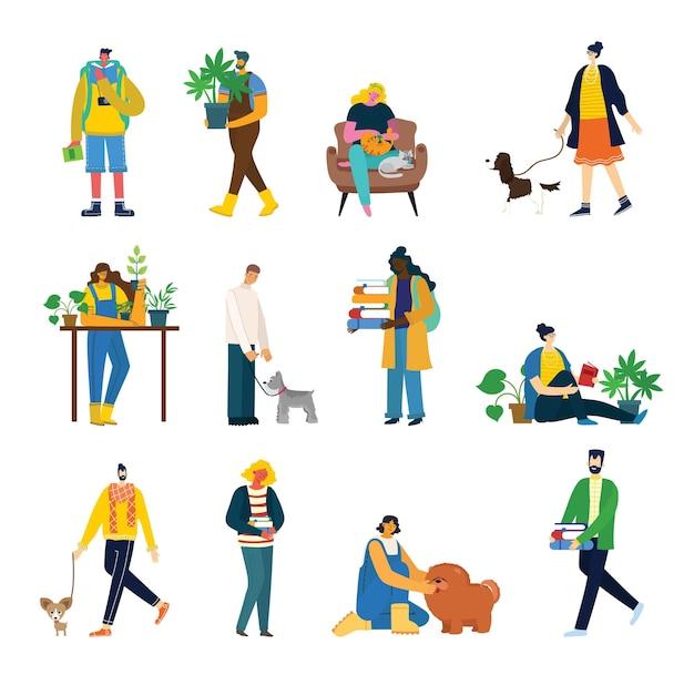 Conjunto de pessoas, homens e mulheres com coisas diferentes
