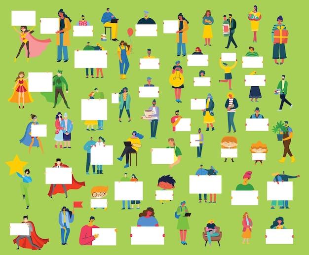 Conjunto de pessoas, homens e mulheres com diferentes letreiros