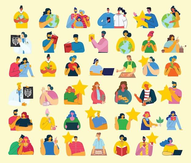 Conjunto de pessoas, homens e mulheres com objetos diferentes. estilo simples e moderno e colorido.