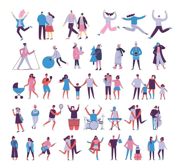 Conjunto de pessoas, homens e mulheres com objetos diferentes