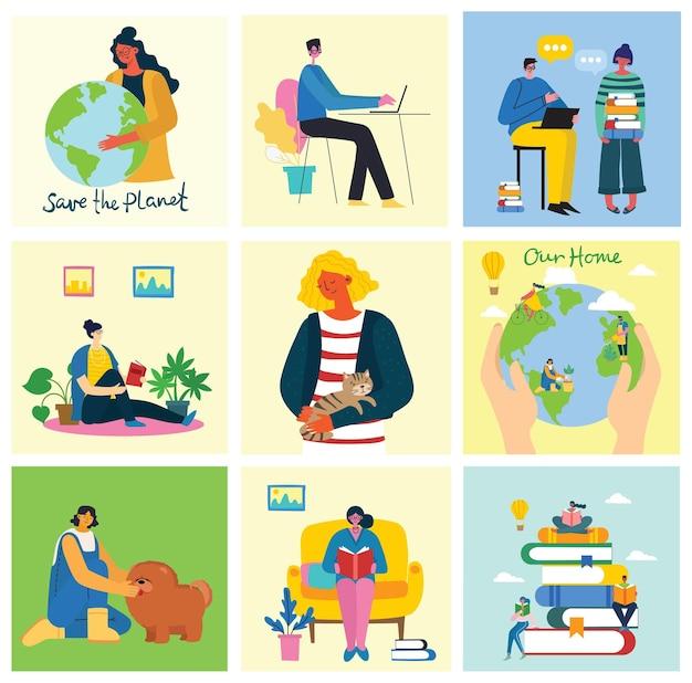 Conjunto de pessoas, homens e mulheres com signos diferentes. estilo simples e moderno e colorido.