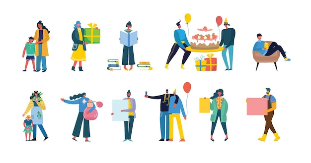Conjunto de pessoas, homens e mulheres com sinais diferentes - livro, trabalhar no laptop, pesquisar com lupa, comunicar