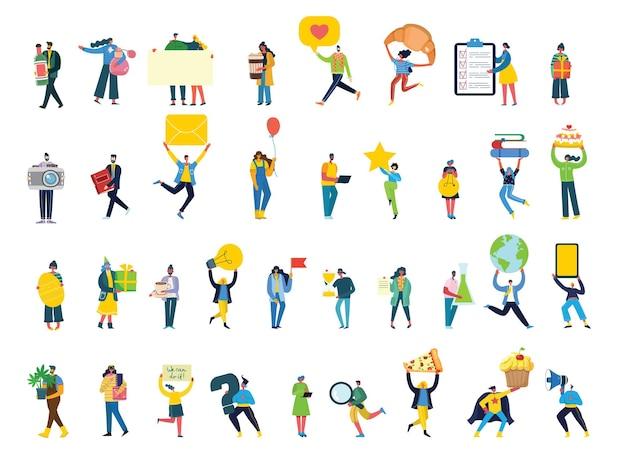 Conjunto de pessoas, homens e mulheres com sinais diferentes - reserve, trabalhe no laptop, pesquise com lupa, comunique-se.