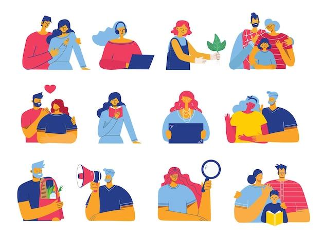 Conjunto de pessoas, homens e mulheres, família com crianças lê um livro, trabalha no laptop, pesquisa com lupa, se comunica.