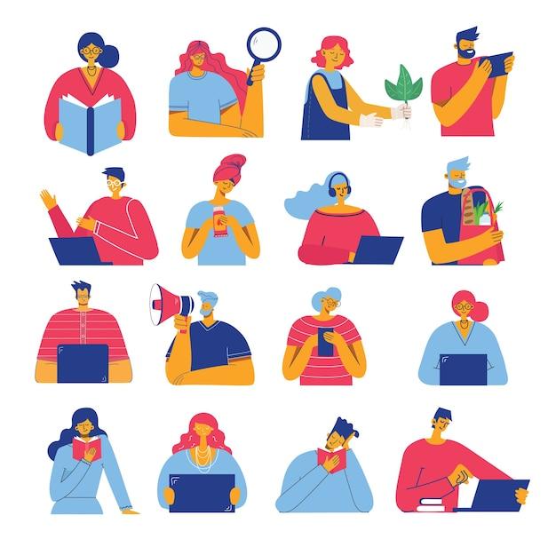Conjunto de pessoas, homens e mulheres lêem um livro, trabalham no laptop, pesquisam com lupa, comunicam-se.