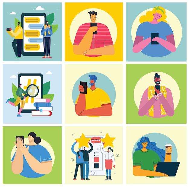 Conjunto de pessoas, homens e mulheres, leia o livro, trabalhe no laptop, pesquise com lupa, comunique-se moderno estilo plano colorido.