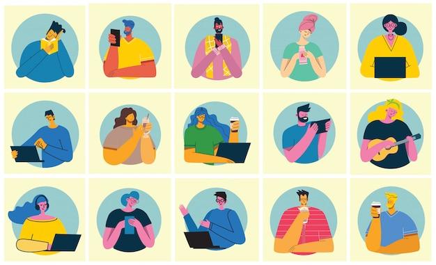 Conjunto de pessoas, homens e mulheres, ler livro, trabalhar no laptop, pesquisar com lupa, comunicar