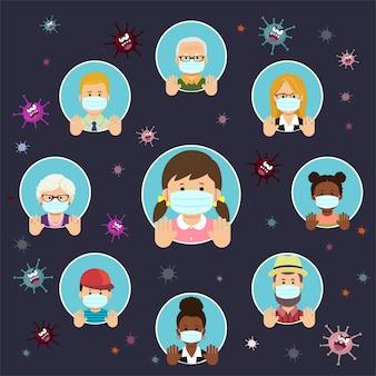 Conjunto de pessoas humanas dirige diferentes nacionalidades e idades em estilo simples, usando máscaras protetoras e mostrando o gesto com as mãos para parar o surto de coronavirus.