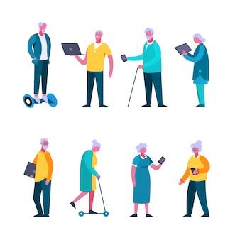 Conjunto de pessoas idosas dos desenhos animados, desfrutando de moderno dispositivo e tecnologia digital isolado no branco