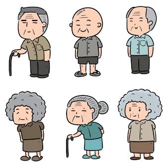 Conjunto de pessoas idosas
